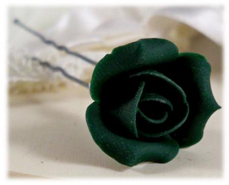 Green Rosebud Hair Pins