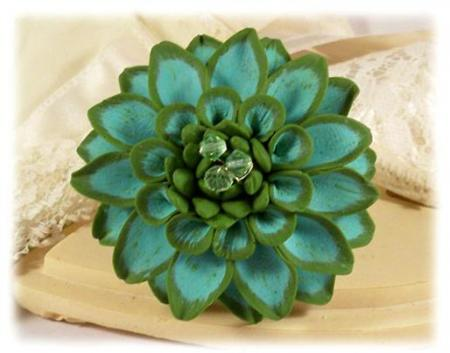Green Dahlia Brooch Pin