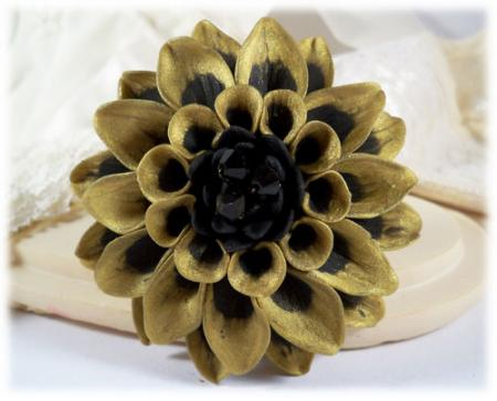 Bronze Black Dahlia Brooch Pin
