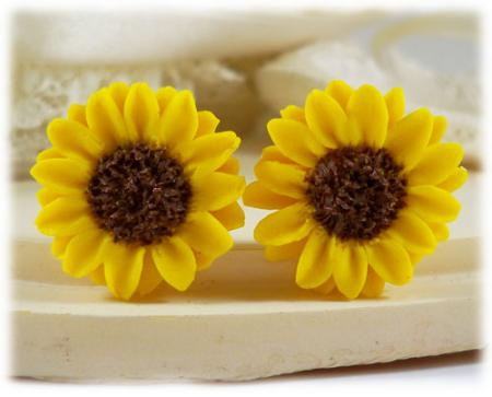Yellow Sunflower Stud Earrings