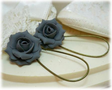 Gray Charcoal Rose Drop Earrings