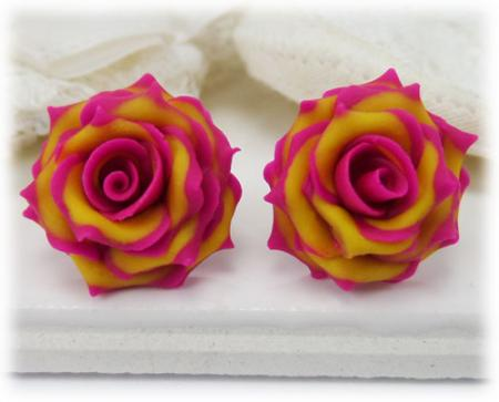 Cherry Brandy Rose Earring Studs