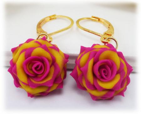 Pink Tipped Rose Earrings