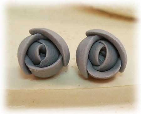 Gray Small Flower Bud Earrings