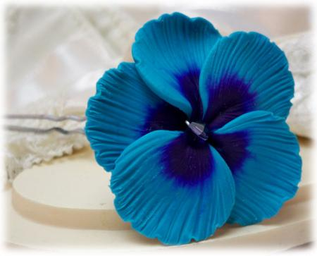 Blue Hibiscus Hair Pins