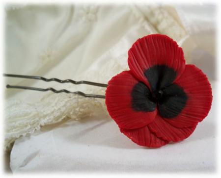 Red Pansy Hair Pins