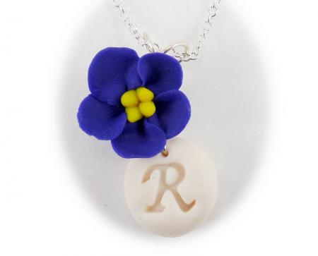 African Violet Initial Necklace