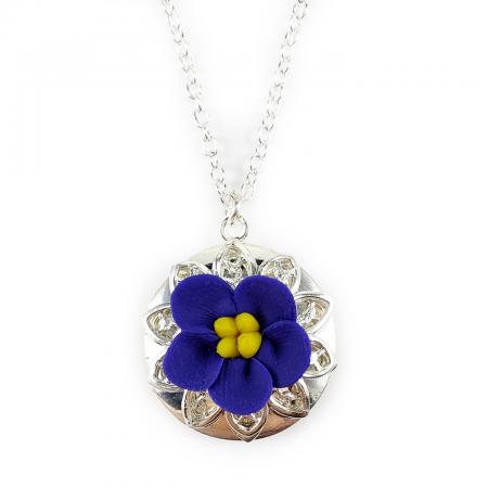 African Violet Silver Locket Necklace