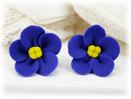 African Violet Stud Earrings