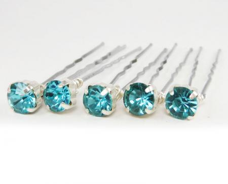 Aqua Rhinestone Hair Pins