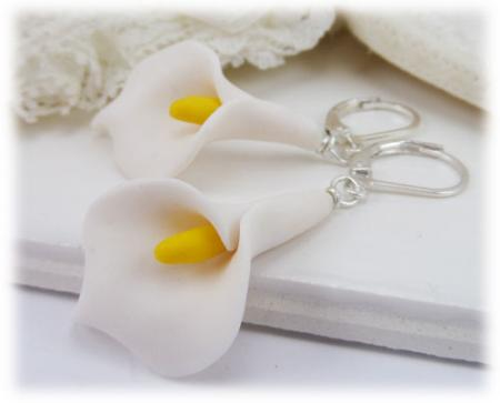 Arum White Calla Lily Earrings