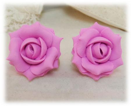 Pink Ballet Rose Stud Earrings