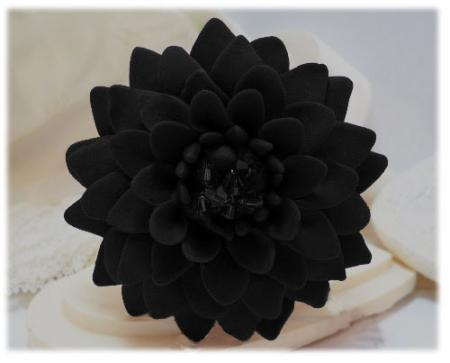 Large Black Chrysanthemum Brooch Pin