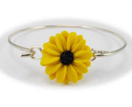 Black Eyed Susan Sterling Silver Bangle Bracelet
