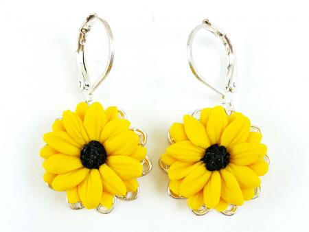 Black Eyed Susan Filigree Dangle Earrings