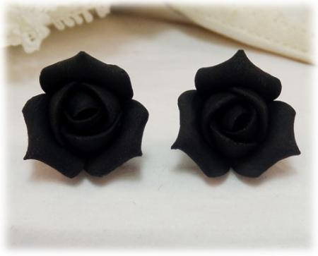 Black Rosebud Stud Earrings