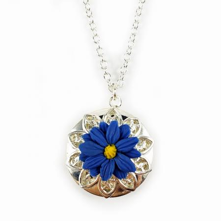 Blue Aster Silver Locket Necklace
