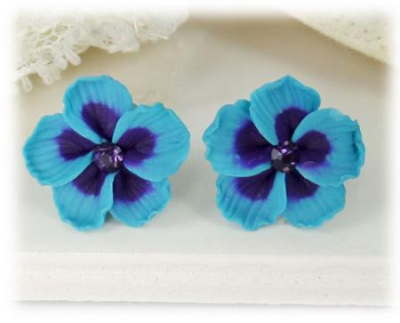 Blue Hawaii Hibiscus Stud Earrings