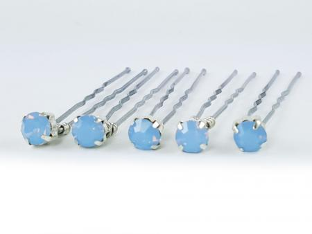 Opal Blue Rhinestone Hair Pins