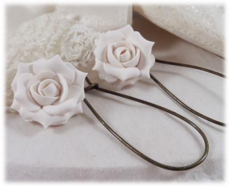 White Bright Rose Drop Earrings