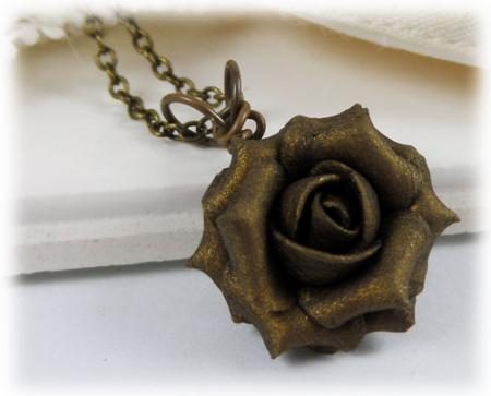 Bronze Rose Necklace