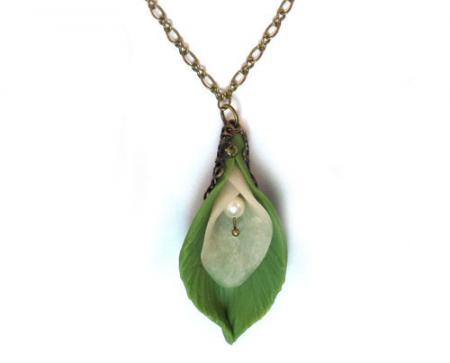 Calla Lily Leaf Necklace