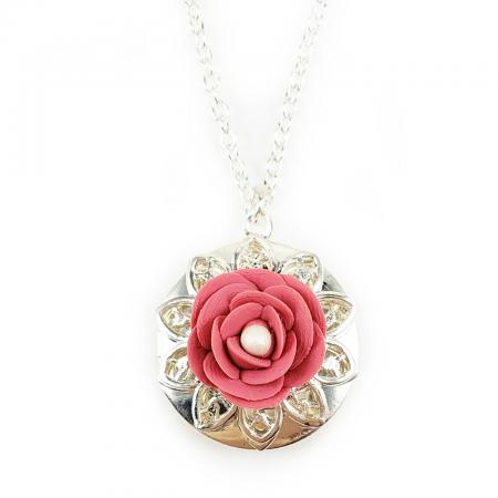Camellia Flower Locket Necklace