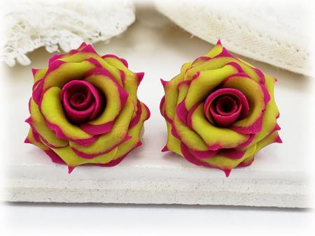 Fuchsia Tipped Chartreuse Rose Stud Earrings