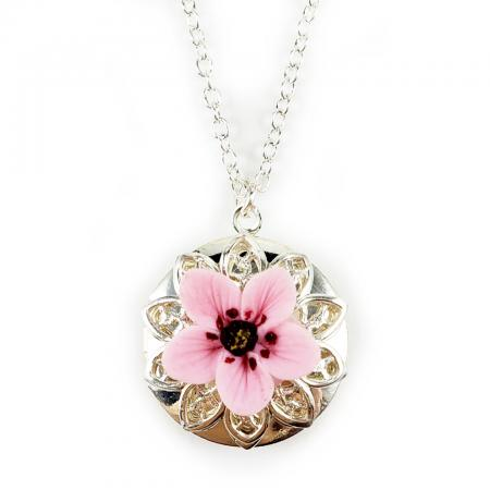 Pink Cherry Blossom Locket Necklace
