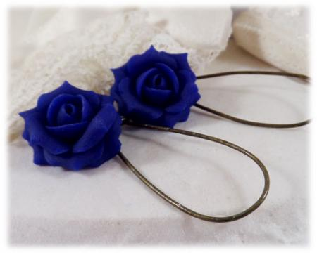 Blue Cobalt Rose Drop Earrings