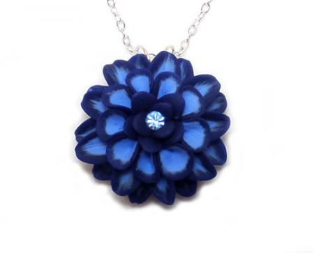 Dahlia Flower Pendant Necklace