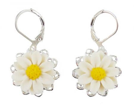 White Daisy Dangle Earrings