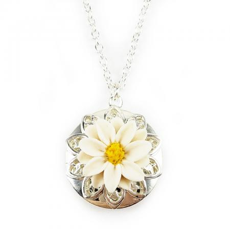 White Daisy Locket Necklace