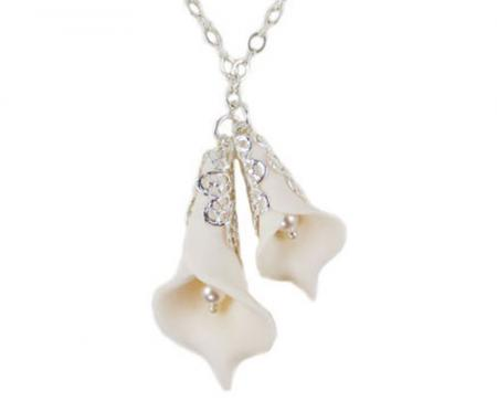 Double Calla Lily Charms Necklace