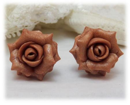 Pink Dusty Rose Stud Earrings