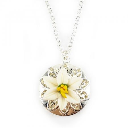 Easter Lily Silver Tone Locket Necklace