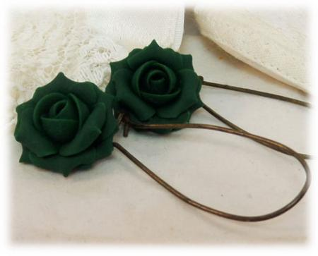 Green Emerald Rose Drop Earrings