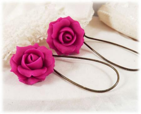 Pink Fuchsia Rose Drop Earrings
