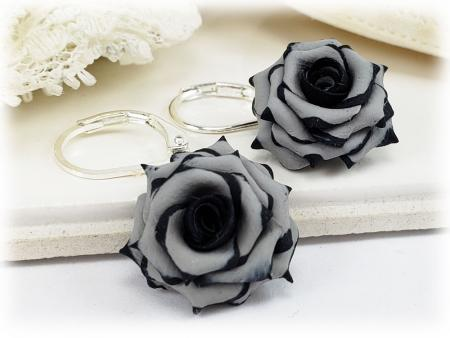 Black Tipped Gray Rose Drop Earrings