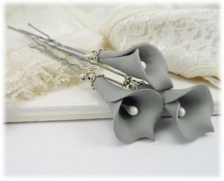Gray Calla Lily Hair PIns