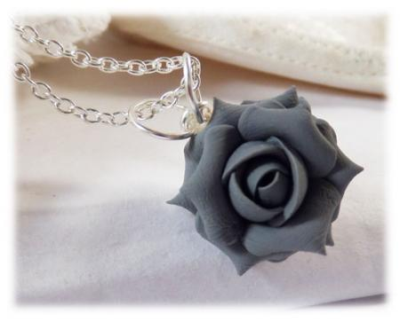 Gray Rose Necklace