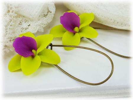 Green Orchids Drop Earrings