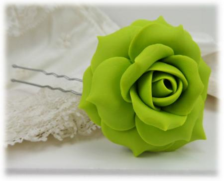 Green Rose Hair Pins