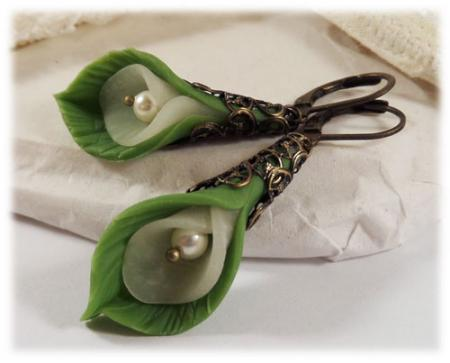 Leaf Enwrapped Calla Lily Earrings