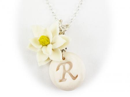 White Magnolia Initial Necklace