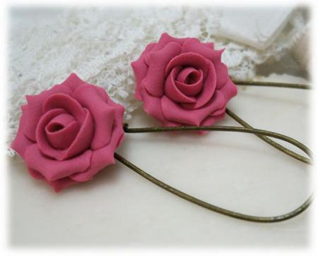 Pink Mauve Rose Drop Earrings