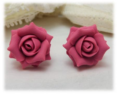 Pink Mauve Rose Stud Earrings