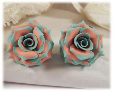 Aqua Coral Rose Earrings