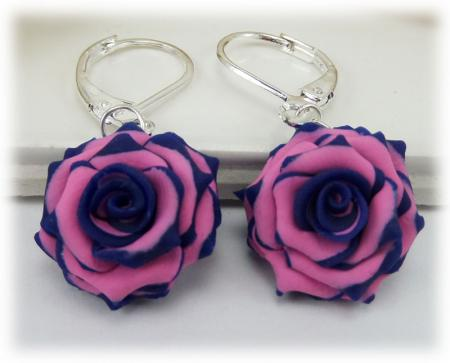 Blue Pink Rose Drop Earrings