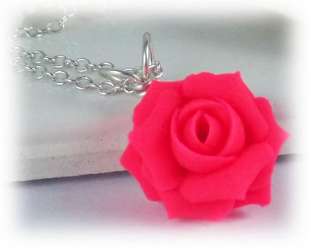 Neon Pink Rose Necklace